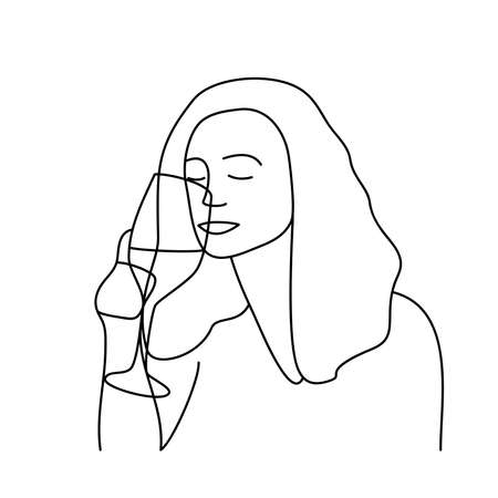 Minimalism hand drawn female vector portrait in modern abstract one line drawing graphic style. Decor print, wall art, creative design social media. Trendy template portrait woman drinks from a glass