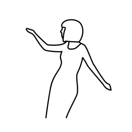 Minimalism hand drawn female vector portrait in modern abstract one line drawing graphic style. Decor print, wall art, creative design for social media.Trendy template portrait whit dance woman
