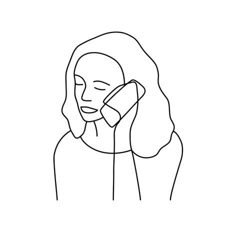 Minimalism hand drawn female vector portrait in modern abstract one line drawing graphic style. Decor print, wall art, creative design social media. Trendy template woman speaks on the phone Ilustração