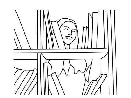 Smiling woman chooses a book in the library on white. Minimalism hand drawn female vector portrait in modern abstract graphic style with one line. Print decor, wall art, social media creative design