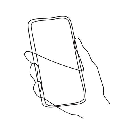 Minimalism hand drawn vector hand holding phone in modern abstract one line drawing graphic style. Decor print, wall art, creative design social media. Trendy template isolated on white background