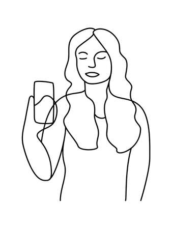 Minimalism hand drawn female vector portrait in modern abstract one line drawing graphic style. Decor print, wall art, creative design social media. Trendy template woman speaks on the phone on white Ilustração