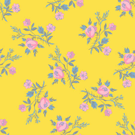 Hand drawn flowers roses, leaves seamless pattern abstract background wallpaper. Line art botanical illustration. Floral wall art vector illustration in trendy color yellow for graphic design, print