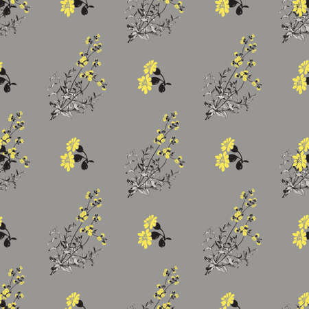 Hand drawn meadow flowers, leaves seamless pattern abstract background wallpaper.Line art botanical illustration.Floral wall art vector illustration in trendy color grey yellow graphic design, print