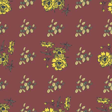Hand drawn flowers daisy, leaves seamless pattern abstract background wallpaper. Line art botanical illustration. Floral wall art vector illustration in trendy color bordo for graphic design, print Ilustração