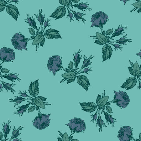 Hand drawn flowers roses, leaves seamless pattern abstract background wallpaper. Line art botanical illustration. Floral wall art vector illustration in trendy color blue for graphic design, print