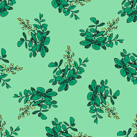Hand drawn meadow flowers, leaves seamless pattern abstract background wallpaper. Line art botanical illustration. Floral wall art vector illustration in trendy color green for graphic design, print