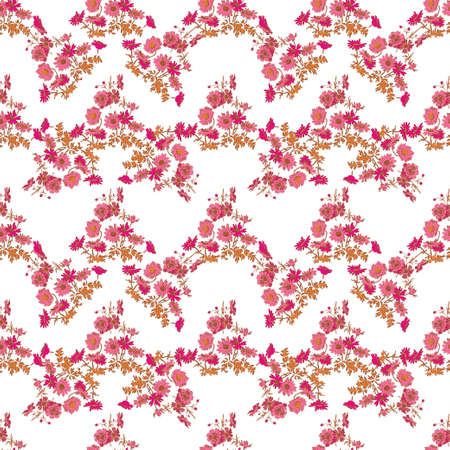 Hand drawn flowers daisy, leaves seamless pattern abstract background wallpaper. Line art botanical illustration. Floral wall art vector illustration in trendy color white pink pastel graphic design Ilustração