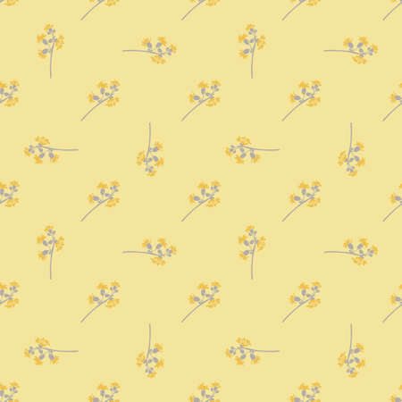 Hand drawn bloom grey branches with yellow flowers, floral seamless pattern abstract background wallpaper vector. Line art botanical illustration for graphic design, print, trendy color pastel yellow Ilustração