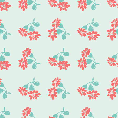 Hand drawn bloom blue branches with red flowers, floral seamless pattern abstract background wallpaper vector. Line art botanical illustration for graphic design print. Trendy nature color pastel blue