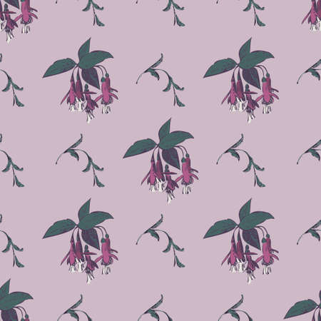 Hand drawn bloom fuchsia flowers, engraving floral seamless pattern abstract background wallpaper vector. Line art botanical wrapping illustration for graphic design print. Purple green pastel colors