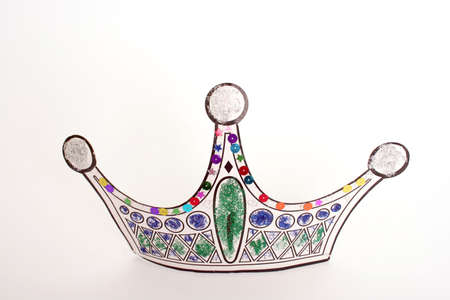 fasching: party crown isolated on white Stock Photo