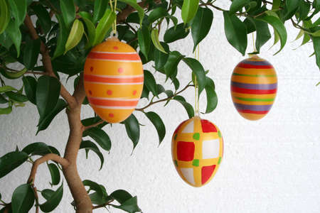 eastertime: hanging easter eggs, landscape Stock Photo
