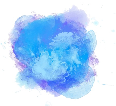 watercolor blue splash. Abstract cyan blot background. Sea, tropical ocean, lagoon element. Design element. Azure blob Ilustração