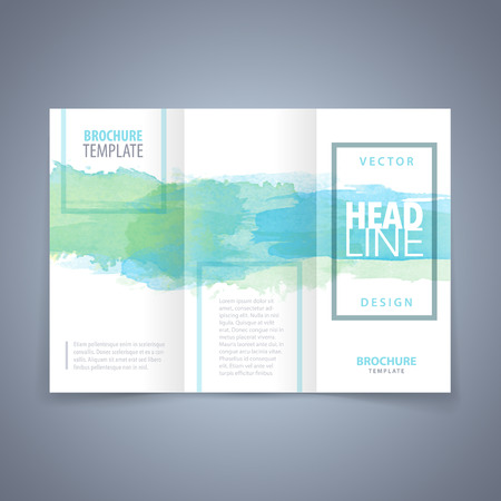 Vector modern flyer, poster or tri-fold brochure design template with colorful watercolor texture