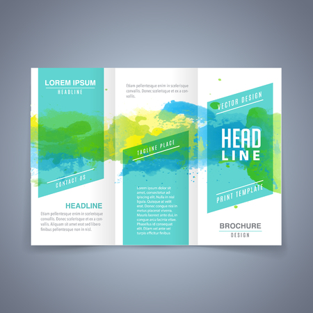 Modern flyer tri fold brochure design template with colorful watercolor texture 免版税图像 - 98083844