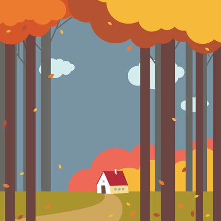 Lonely house in forest Illusztráció