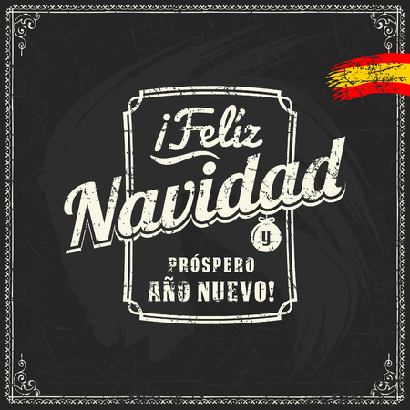 Spanish chalk lettering of christmas and new year sale discount offers and greetings on blackboard 矢量图像
