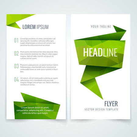 Vector business flyer or brochure layout template with green triangle pattern on white background