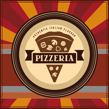 Label for classic pizzeria on retro radial background