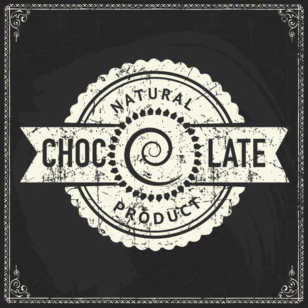 Craft chocolate label design on vintage blackboard texture Illustration