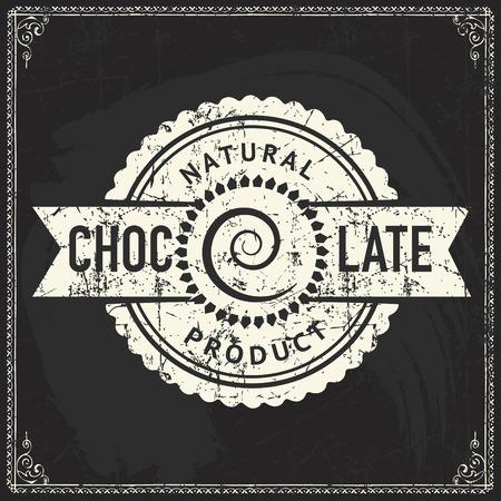 Diseño de etiqueta de chocolate artesanal en textura de pizarra vintage