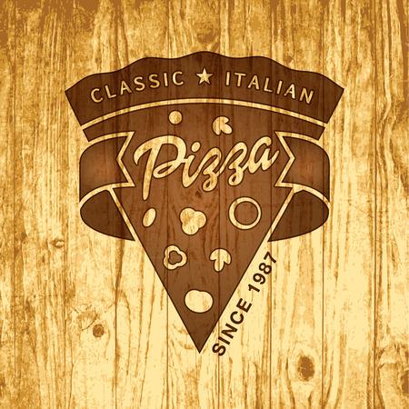 Vector pizzeria logo on vintage wood background Logo