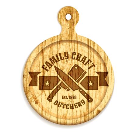Modèle d'étiquette de boucherie artisanale sur la planche à découper ronde en bois vintage