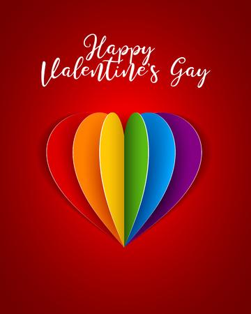 Plantilla de corazón de papel de arco iris LGBT de vector para tarjeta de felicitación de feliz día de San Valentín