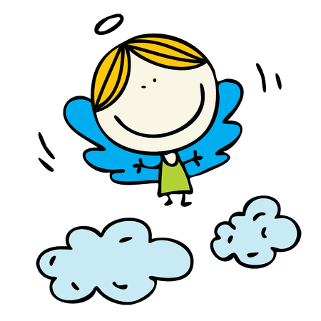 Cute kids drawn happy angel in clouds doodle illustration