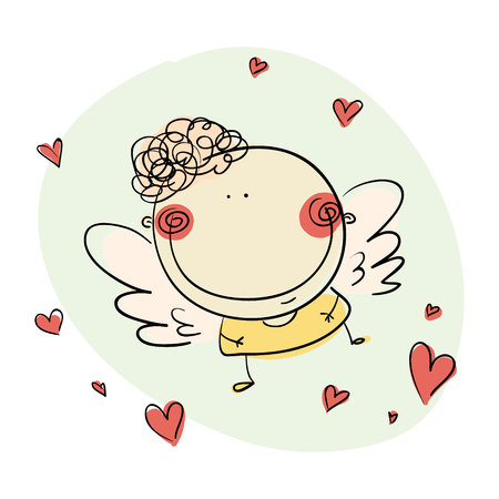 Cute simple drawn angel with hearts and clouds illustration
