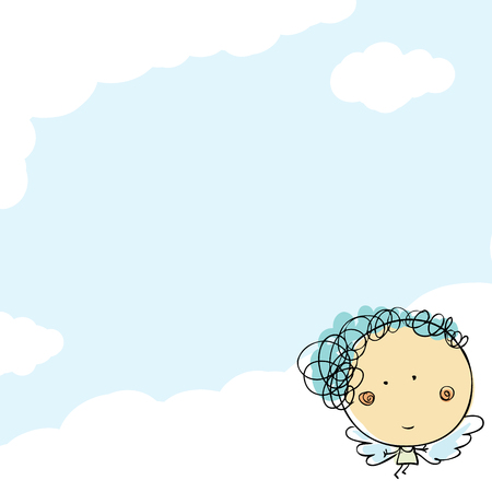 Cute kids drawn angel girl in the sky doodle card template Stockfoto - 115704568