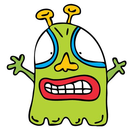 Simple flat sketch alien monster cartoon illustration