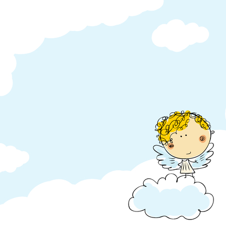 Doodle child drawn little angel girl illustration 일러스트