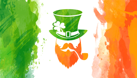 Vector watercolor irish flag for Saint Patricks day with leprechaun