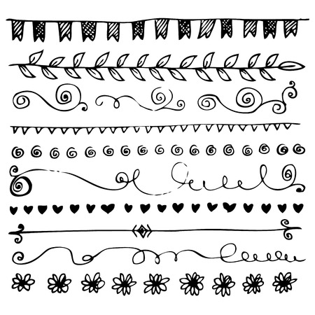 Hand drawn vector border lines and frames doodle sketch set Ilustrace