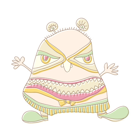 Simple doodle alien monster isolated cartoon illustration