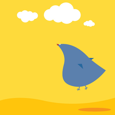 Simple vector flat illustration of bird and sky Ilustrace