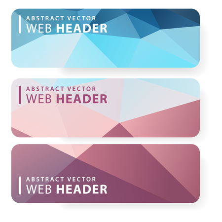 Vector design template set of banner, header for website with triangle geometric background