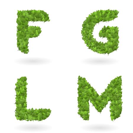 letter of vector realistic nature green eco leaves Ilustração