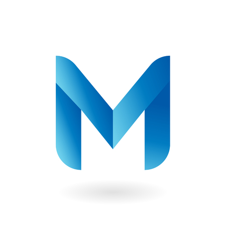 M letter blue cool gradient flat vector logo template