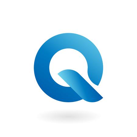 Q letter blue cool gradient flat vector logo template