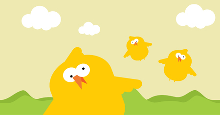 Simple vector sketch illustration of funny chicken birds