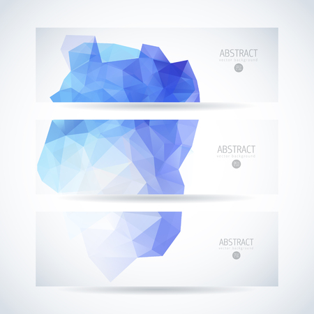 Vector design template set of banner, header for website with blue abstract triangle background