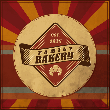 Bakery label design elements on round old paper texture 일러스트