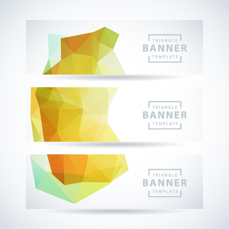 Vector design template set of banner, header for website with nature green triangle background