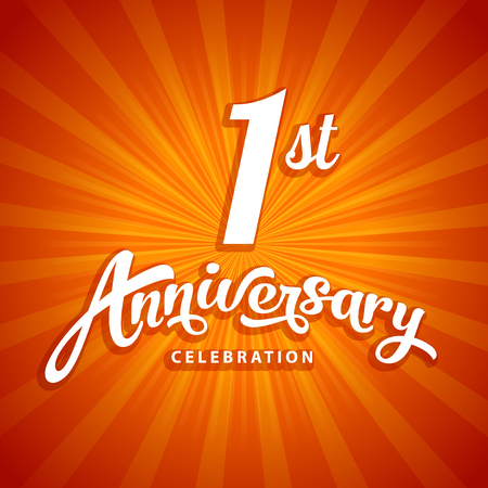 1st anniversary vector template for birthday, wedding or business greeting or invitation card Illustration