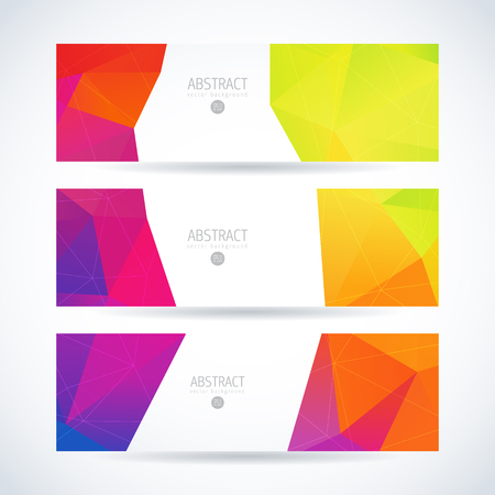 Vector design template set of banner or header with rainbow triangle colorful background Illustration