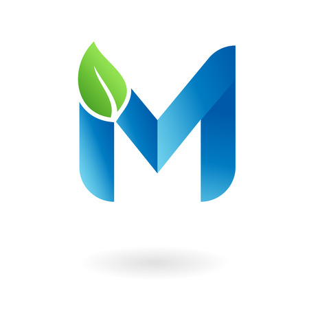 M letter natural organic food leaf blue cool logo template