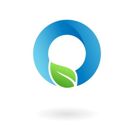 O letter natural organic food leaf blue cool logo template